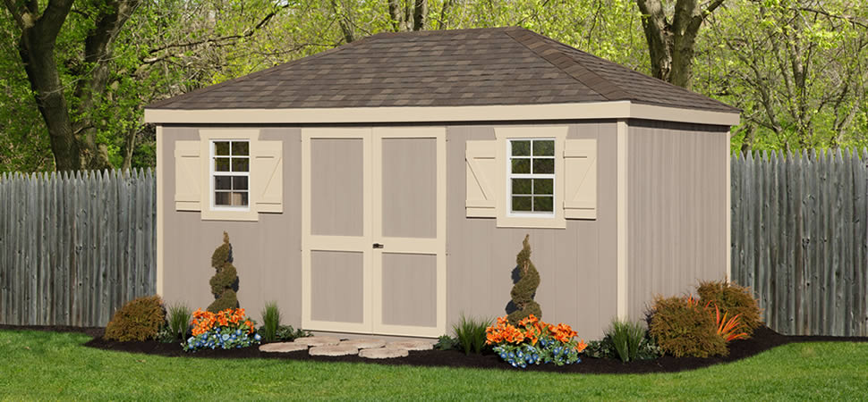 Hip roof sheds from riehl quality storage barns pa for Hip roof barns