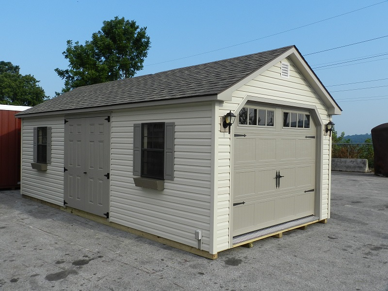12x24 Colonial Aframe Vinyl Siding - Carrage Garage Door
