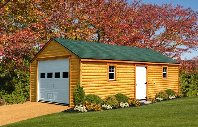 14x28 Aframe Garage Custom Log Siding