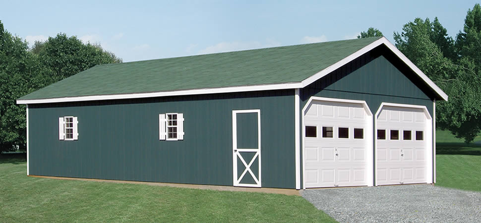 Double wide a frame garage at riehl quality storage barns for 24x40 garage