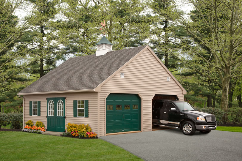 Custom built garages single car multi vehicle double for Custom 2 car garage