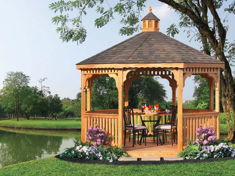 Gazebos vinyl wood cedar octagon oval and rectangle at riehl quality - Build rectangular gazebo guide models ...