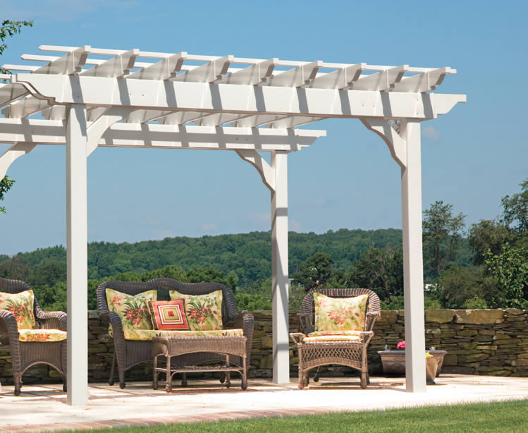 Vinyl wood pergolas arbors from riehl quality storage barns for What does pergola mean